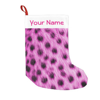 Cute Pink Cheetah Fur Look Add Your Name Small Christmas Stocking