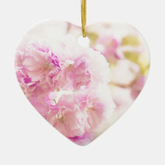 Cute pink cherry blossoms of Japan Ceramic Heart Ornament