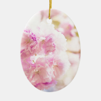 Cute pink cherry blossoms of Japan Ceramic Oval Ornament