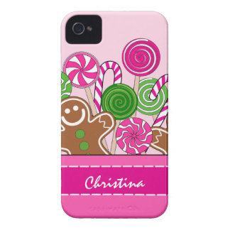 Cute pink Christmas gingerbreads iPhone 4 Case-Mate Case