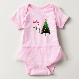 """Cute pink """"Christmas tree"""" personalised Baby Bodysuit"""