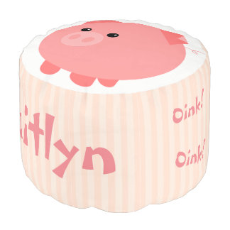 Cute Pink Chubby Pig Footstool Pouf