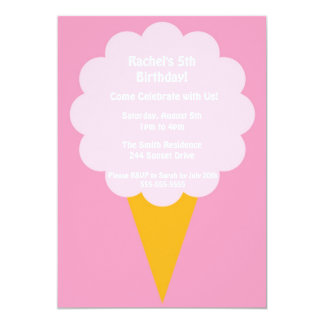 Cute Pink Cotton Candy Kid's Birthday Party Invite