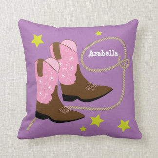 Cute Pink Cowboy Boots & Rope, Personalized Throw Pillow