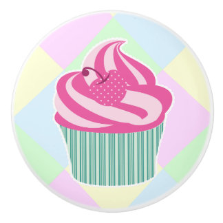 Cute Pink Cupcake and Pastel Colors Ceramic Knob