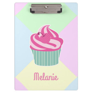 Cute Pink Cupcake and Pastel Colors Clipboard