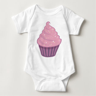 Cute Pink Cupcake Big Swirl Icing With Sprinkles Baby Bodysuit