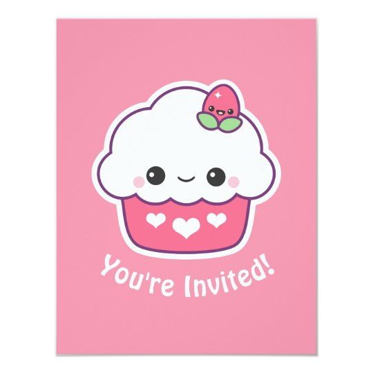 Cute Pink Cupcake Birthday Party Invitations
