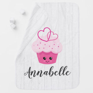Cute Pink Cupcake Kawaii Baby Girl Boy Monogram Baby Blanket
