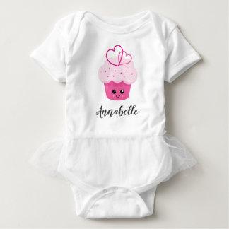 Cute Pink Cupcake Kawaii Baby Monogram Tutu Baby Bodysuit