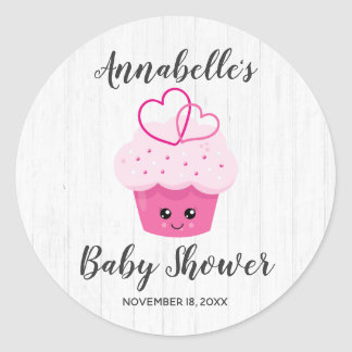 Cute Pink Cupcake Kawaii Baby Shower Invitation Classic Round Sticker