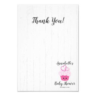 Cute Pink Cupcake Kawaii Baby Shower Thank You Card