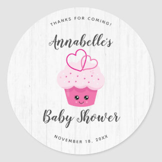 Cute Pink Cupcake Kawaii Baby Shower Thank You Classic Round Sticker