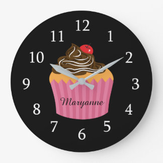 Cute Pink Cupcake On Black Personalized Kitchen Large Clock