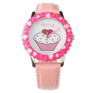 cute pink cupcake personalized design watch