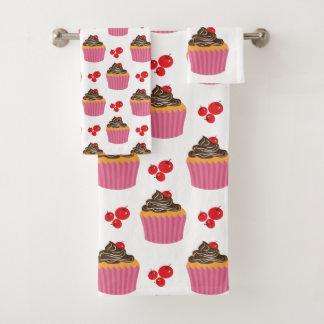 Cute Pink Cupcakes And Cherries Pattern Bath Towel Set
