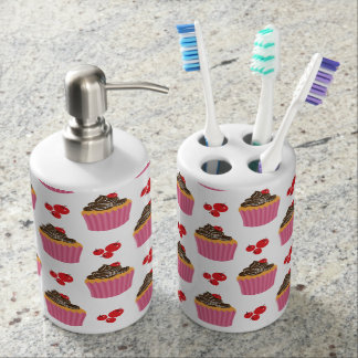 Cute Pink Cupcakes And Cherries Pattern Soap Dispenser And Toothbrush Holder