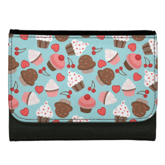 Cute Pink Cupcakes, Hearts And Cherries Pattern Women's Wallets