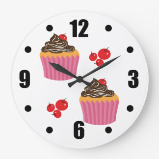 Cute Pink Cupcakes  On White Large Clock