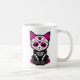 Cute Pink Day of the Dead Kitten Cat Coffee Mug