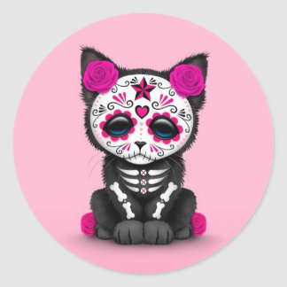 Cute Pink Day of the Dead Kitten Cat Round Sticker