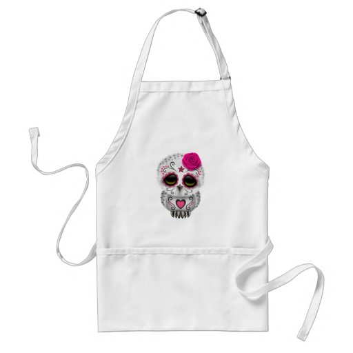 Cute Pink Day of the Dead Sugar Skull Owl Apron