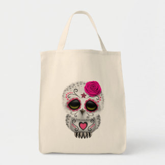Cute Pink Day of the Dead Sugar Skull Owl Canvas Bags