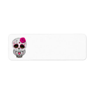 Cute Pink Day of the Dead Sugar Skull Owl Labels