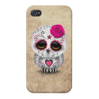 Cute Pink Day of the Dead Sugar Skull Owl Rough iPhone 4/4S Cover