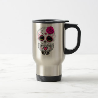 Cute Pink Day of the Dead Sugar Skull Owl Travel Mug