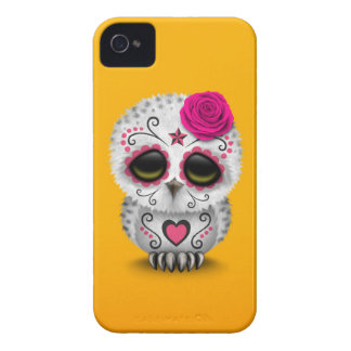 Cute Pink Day of the Dead Sugar Skull Owl Yellow Case-Mate iPhone 4 Cases