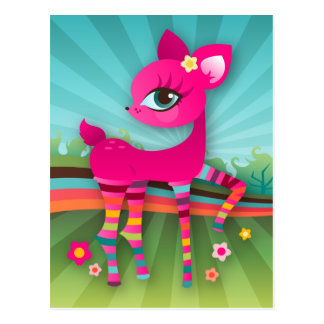 Cute Pink Deerie in Rainbow Stockings Postcard