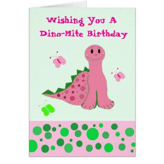 Cute Pink Dinosaur Card
