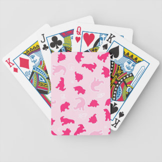 Cute pink dinosaurs bicycle playing cards