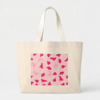 Cute pink dinosaurs large tote bag