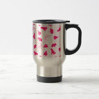 Cute pink dinosaurs travel mug