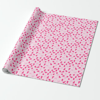 Cute pink dinosaurs wrapping paper