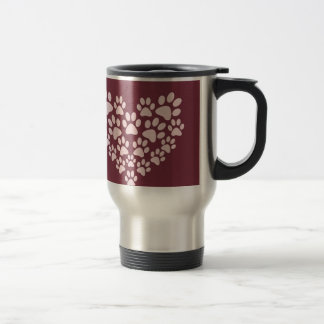 Cute Pink Dog Paw Print Heart on Burgundy Travel Mug