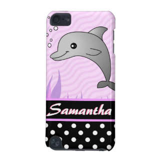 Cute Pink Dolphin Black Polka Dot Custom Name iPod Touch (5th Generation) Covers