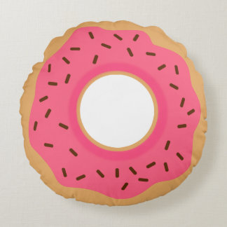 Cute Pink Donut With Sprinkles Round Pillow
