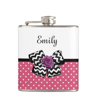 Cute Pink Dots Purple Rose Chevron Bow and Name Hip Flask
