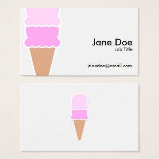 Cute Pink Double Scoop Ice Cream Cone Business Card
