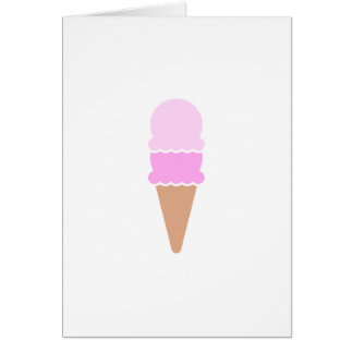 Cute Pink Double Scoop Ice Cream Cone Card