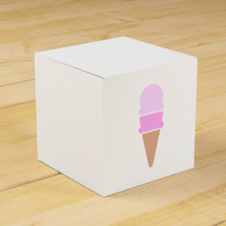 Cute Pink Double Scoop Ice Cream Cone Favor Box
