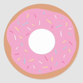 Cute Pink Doughnut with Sprinkles Round Sticker