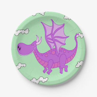 Cute Pink Dragon Paper Plates
