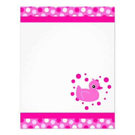 Cute Pink Ducky Flat Thank You Note Cards Invitations