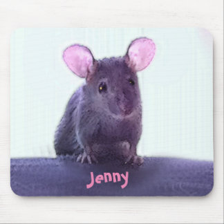 Cute Pink Eared Mouse Drawing Add Your Name Mouse Pad