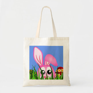 Cute Pink Easter Bunny and Colorful Eggs in Grass