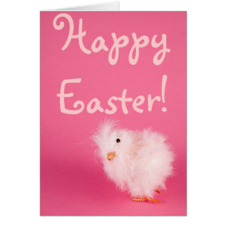 Cute Pink Easter Chick Card